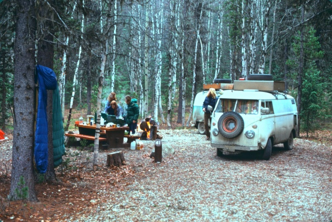 Camping Near Muncho Lake on the Alcan 1975