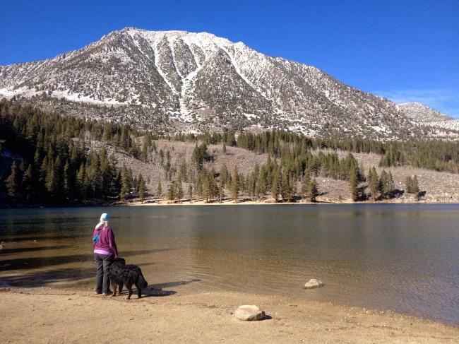 Denise and the Pups Walking Around Rock Creek Lake