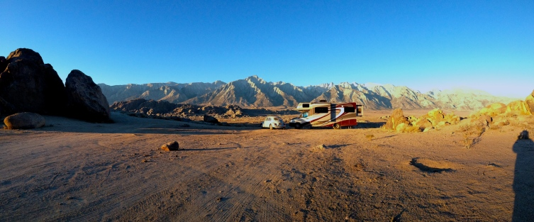 Our Fantastic High Point Camp in the Alabama Hills at 5200 ft. Mt. Whitney in the Background