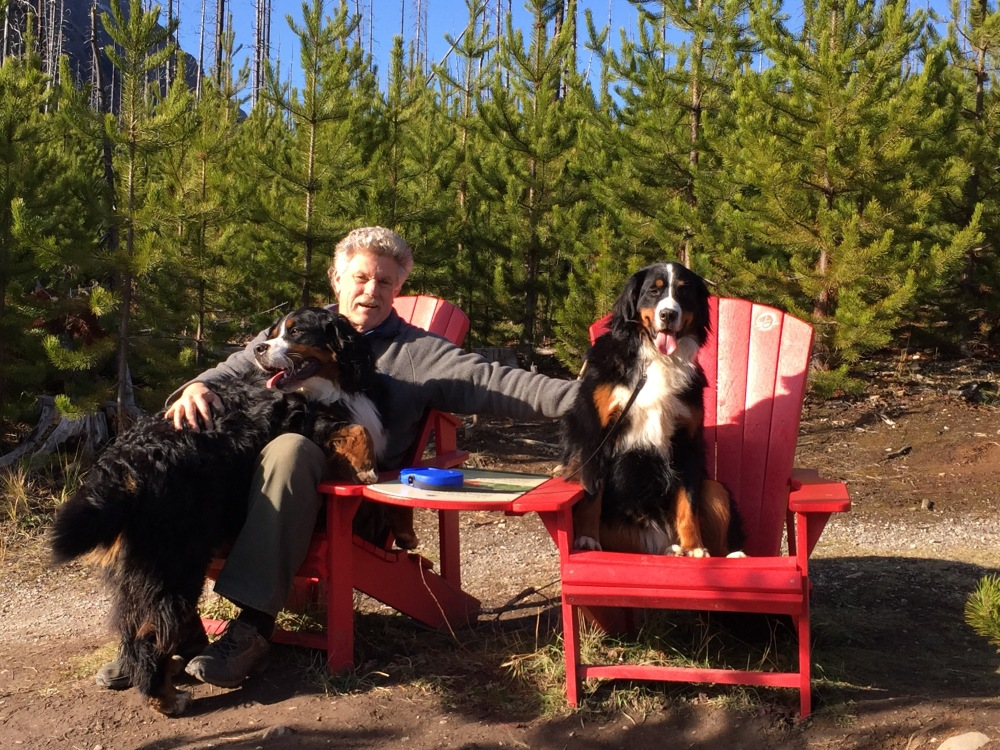 Tim And The Pups Enjoy A Red Chair View At Marbe Canyon Kooteneys