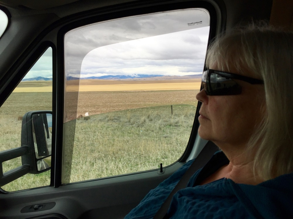 Denise Does Her Best To Stay Awake While We Cross the Alberta Prairies