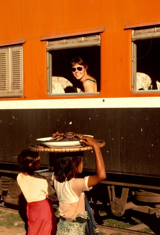 Denise Shops For Dinner From The Widow Of The Rangoon To Mandalay Train Burma 1983