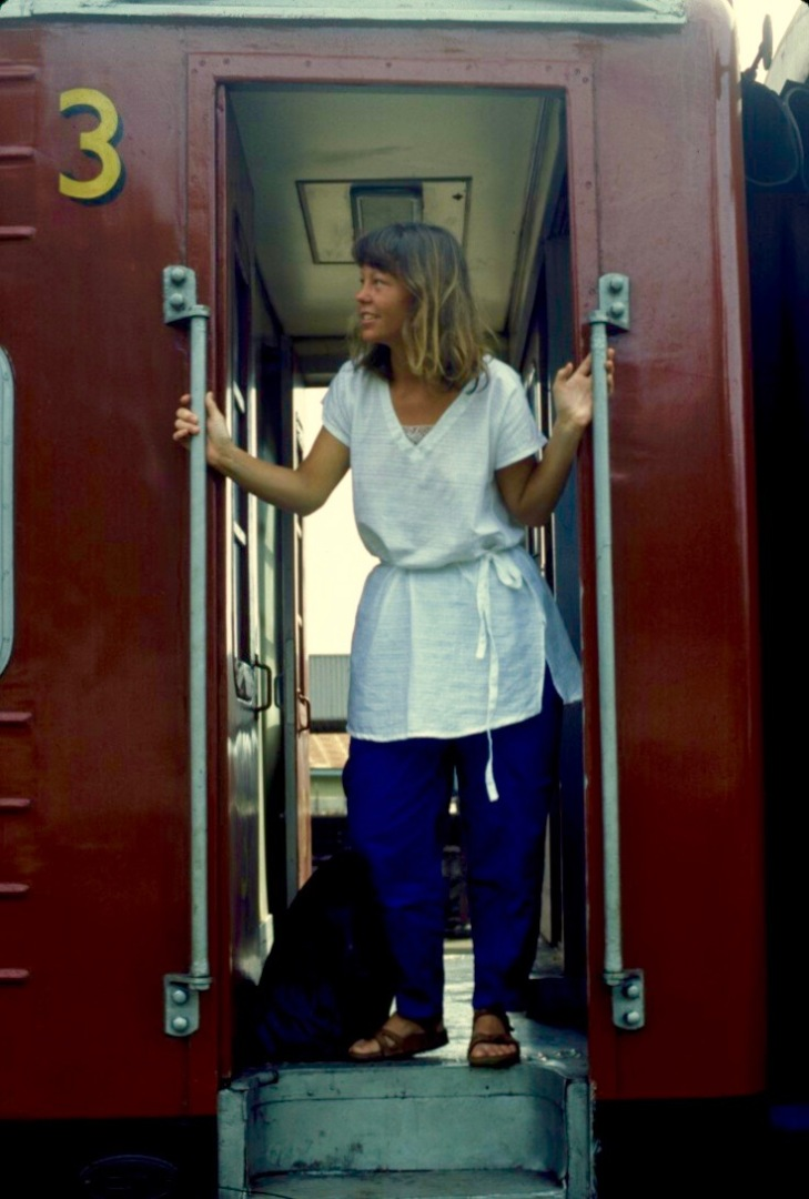 Denise Onboard The Train From Columbo To Hikkaduwa Sri Lanka 1984