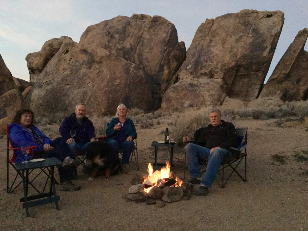 Evening Campfire In Front Of The Bowling Pin Rocks