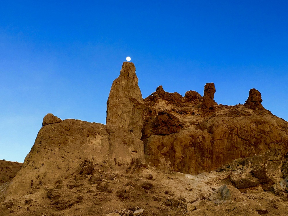 The Moon Rest On A Trona Pinnacles