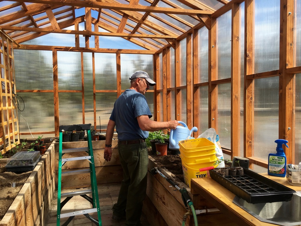 Mark Works In His Greenhouse