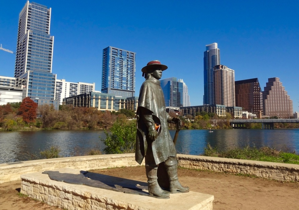 Stevie Ray Vaughn With Austin Sky Line